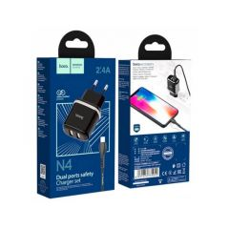 Adaptateur secteur USB Double port avec Cable Lightning (2.4A) HOCO N4 (Boite/Blister) noir