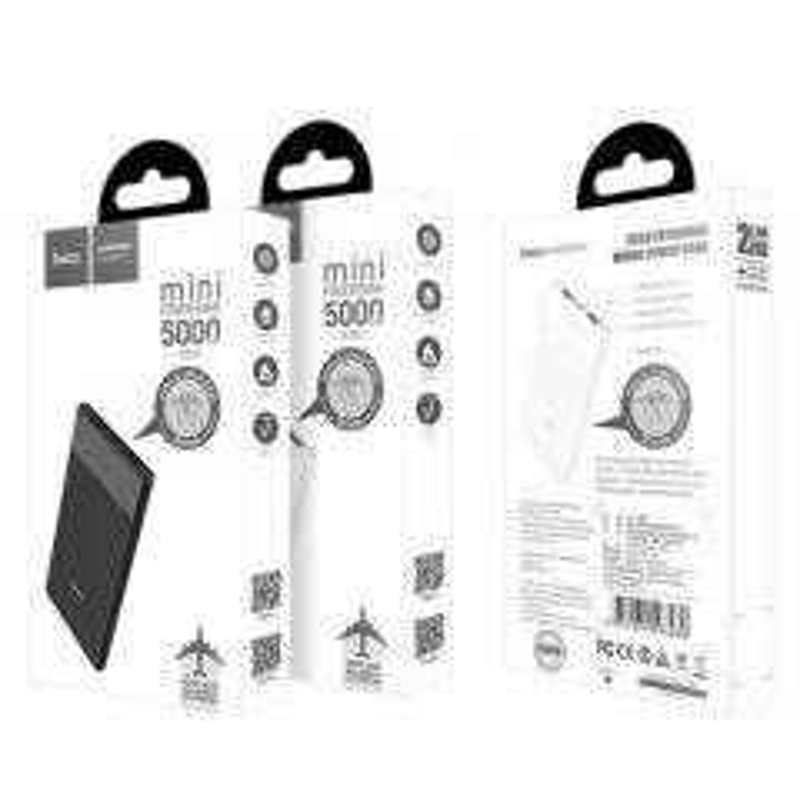Power Bank Double Port (USB/Micro USB) 5000mAh HOCO B35D (Boite/Blister) blanc
