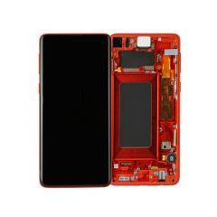 Ecran lcd avec vitre tactile ORIGINAL Samsung G975 Galaxy S10 Plus SERVICE PACK GH82-18849H rouge